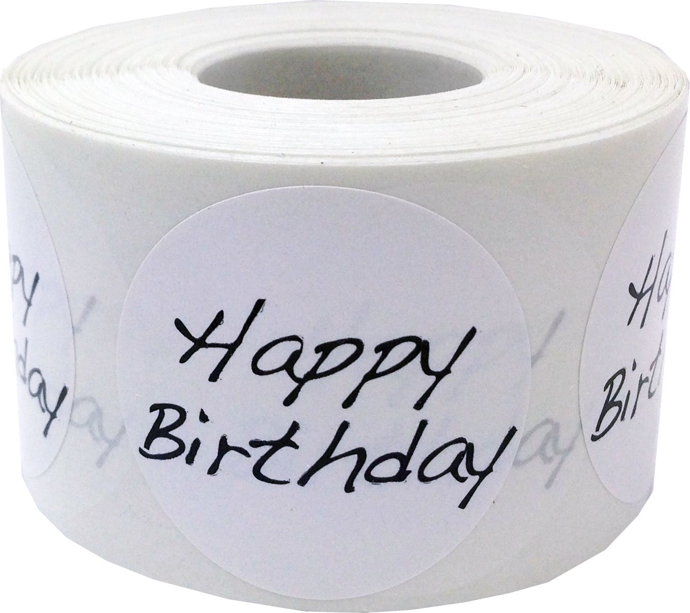 White Circle with Black Happy Birthday Stickers, 1.5 Inches Round, 500 Labels on a Roll
