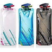 Botella de agua plegable conjunto de 3, maxin flexibles plegables botellas de agua reutilizables para senderismo, aventuras, viajar, 700ML.