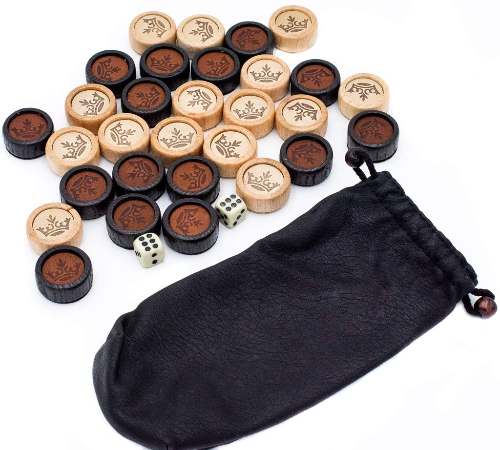 Gry i konsole Backgammon Set Game Pieces Dice Checkers Chips Wooden Luxury Leather Pouch 30pcs