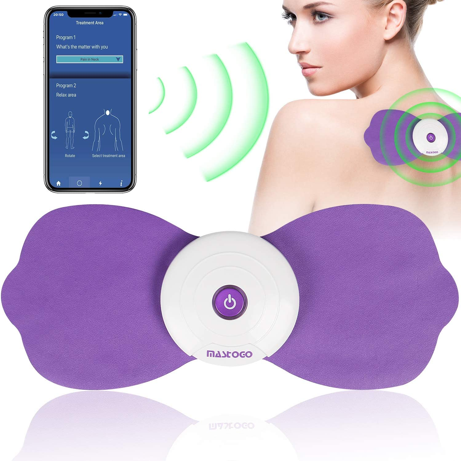 Wireless Back Pain Relief Massager TENS Unit - Bluetooth Electric APP Controlled EMS Muscle Stimulator Machine for Back Shoulder Leg Neck Pain Relief