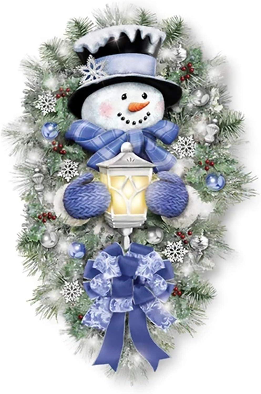 Lefeindgdi Couronne de bonhomme de neige chaude et chaude pour l/'hiver avec lanterne lumineuse