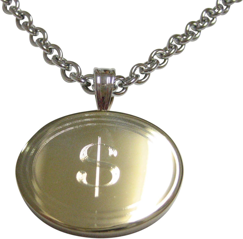 Dollar Sign Pendant Necklace Kiola Designs Gold Toned Etched Oval U.S