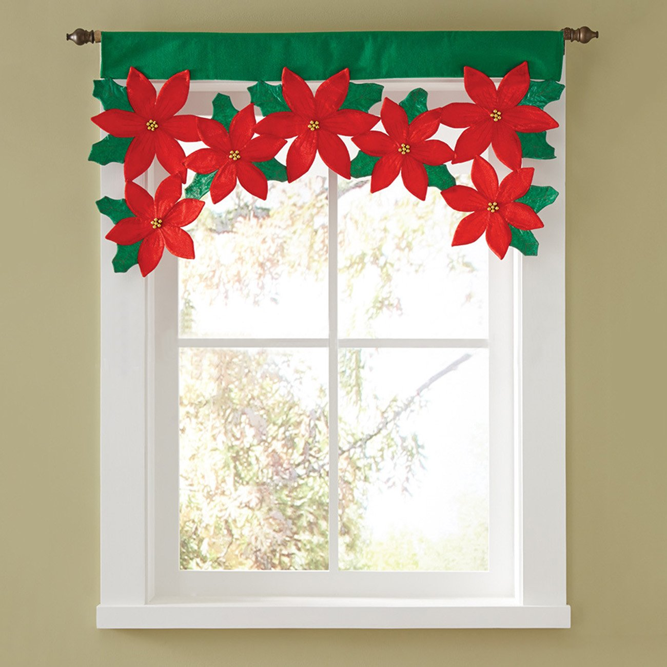 THEE Christmas Flower Curtain Valance Window Decorations Decals