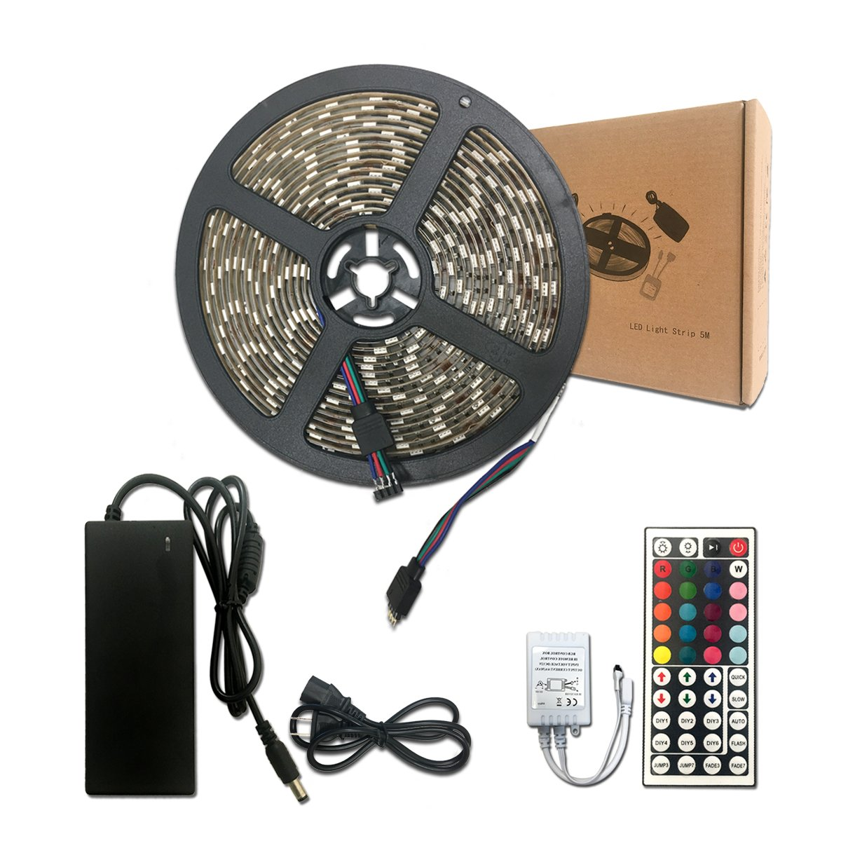 RP 2018 LED Strip Light Kit, 16.4ft 300LEDs Water-resistant Flexible Multicolor 5050 RGB Lighting, 12V5A Power Adapter, 44 Key Remote Control. For Indoor/Outdoor/Holiday/Home/Store/Party Decoration