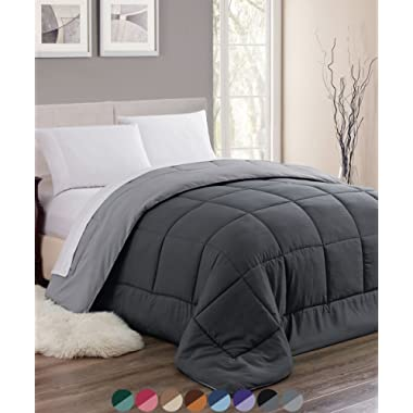 Woven Trends Sleep Elegance All-Season Down Alternative Comforter - Stitched Quilted Reversible Hypoallergenic Reversible Comforter (Full/Queen, Gray)