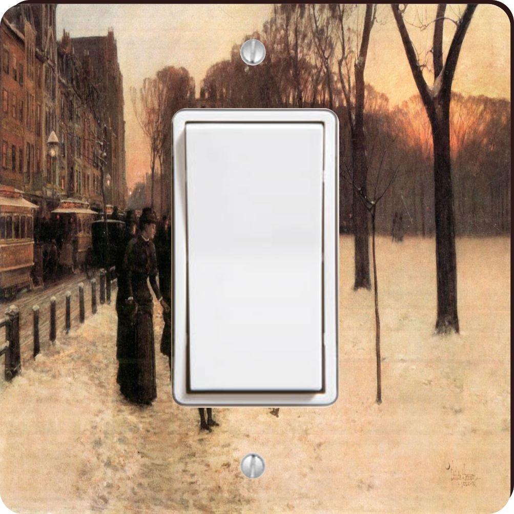 Rikki Knight 2956 Single Rocker Childe Hassam Art Boston In Everyday Twilight Design Light Switch Plate by Rikki Knight