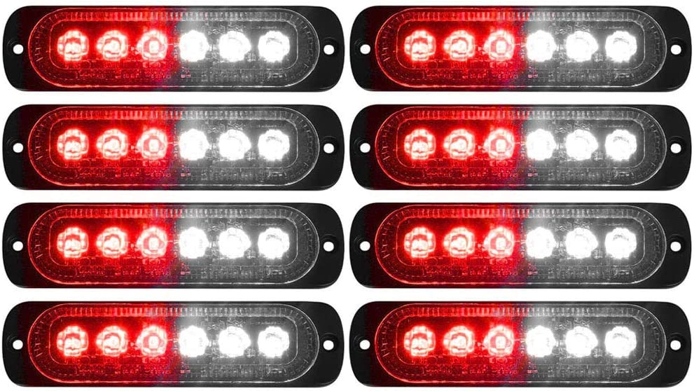 DIBMS 8x Amber 6 LED Side Strobe Warning Hazard Flashing Emergency Caution Construction Light Bar for Car Off road vehicle ATVs truck engineering vehicles