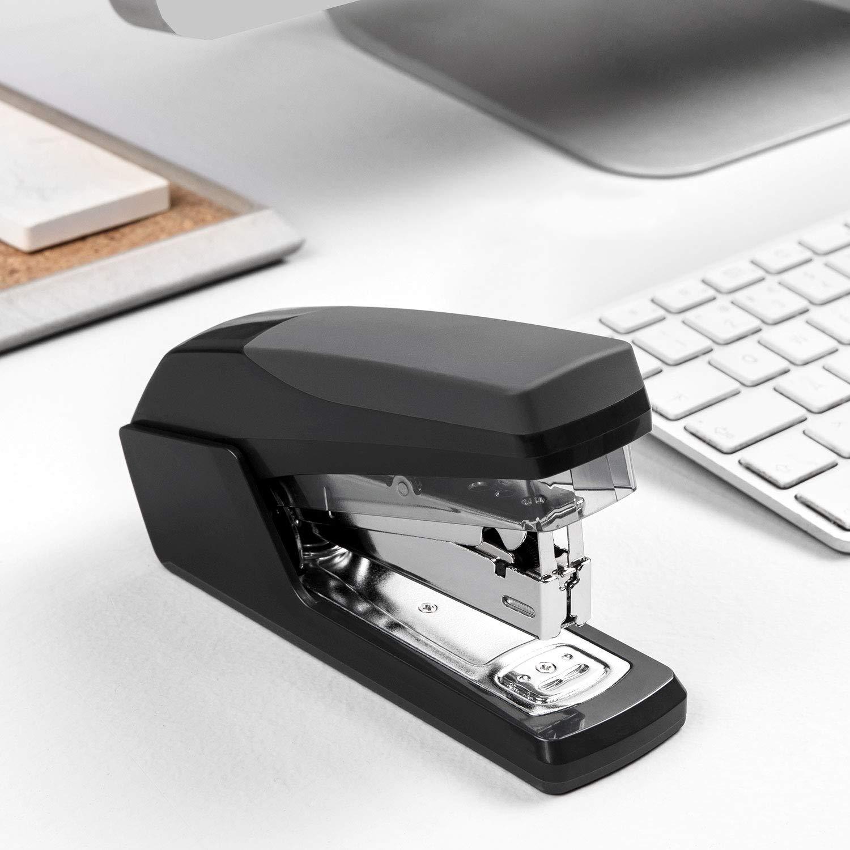 Volcanics Desk Stapler Heavy Duty Small Office Stapler Hand Stapler Set with Staples Black