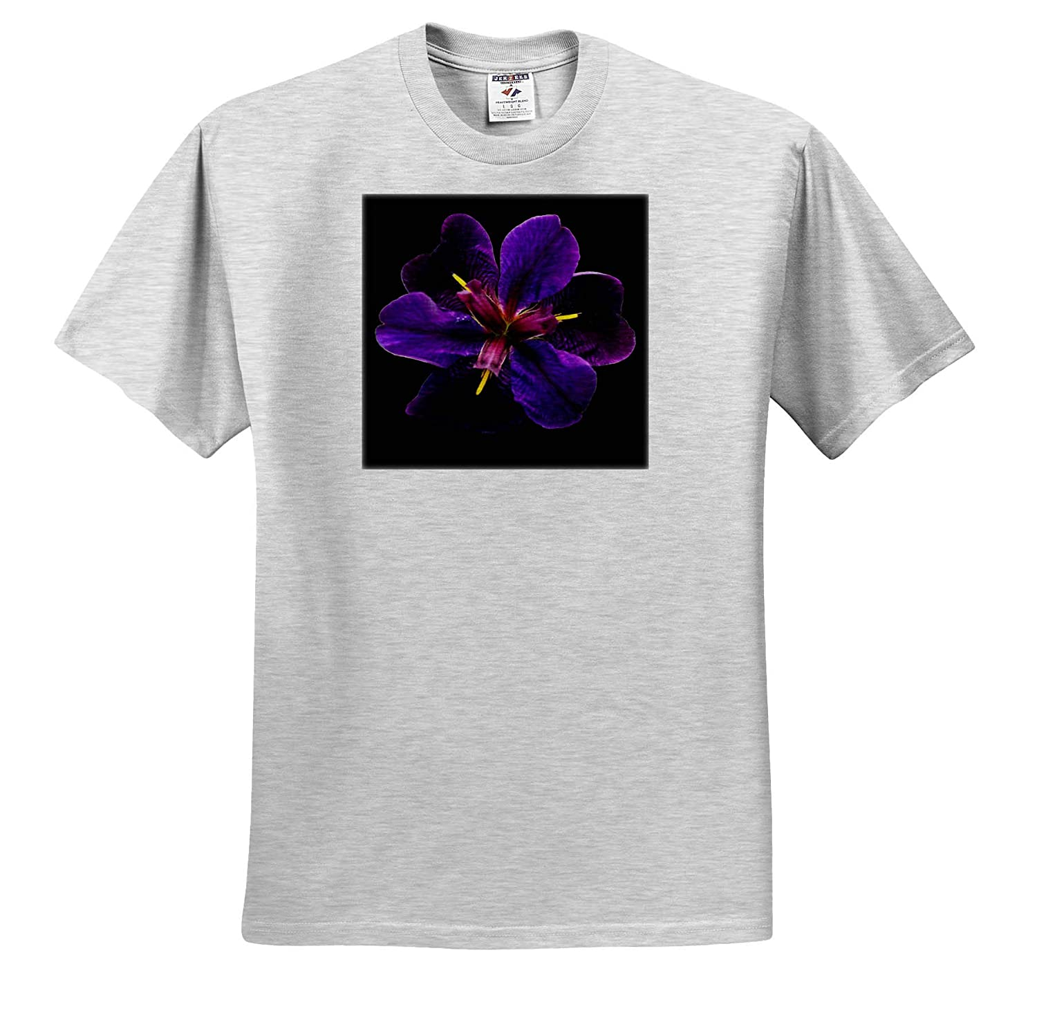 Macro Photograph of a Purple iris Flower on a Black Background ts/_320155 - Adult T-Shirt XL Flowers 3dRose Stamp City