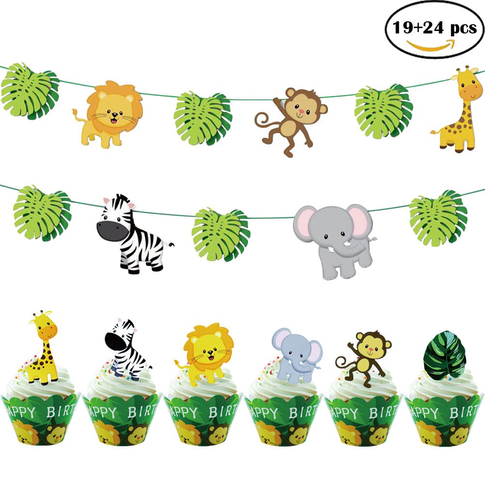 43pcs Jungle Animals Leaves Happy Birthday Decoration Set with 19pcs Animal Banner 24pcs Cupcake toppers and 24pcs Wrappers for Woodland Garland Forest Theme Birthday Festival Party