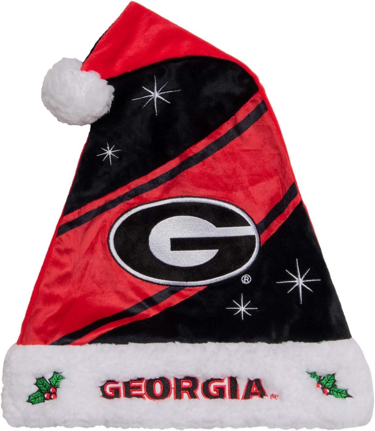 FOCO NCAA Georgia Bulldogs High End Holiday Santa Hat CapHigh End Holiday Santa Hat Cap Team Color One Size
