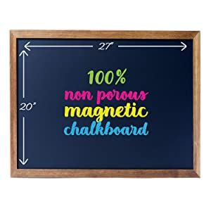 "Cedar Markers 27""x20"" Framed Chalkboard Sign. 100% Non-Porous Erasable Blackboard and Whiteboard. Chalk Board for Chalk Markers. Magnet Board Decorative Bulletin Board for Every Event (27x20)"