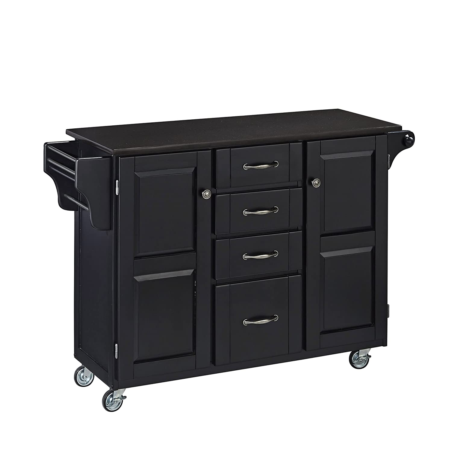 Create-a-Cart Black 2 Door Kitchen Cart with Black Granite Top by Home Styles
