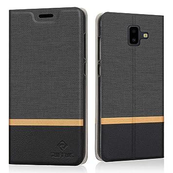 RIFFUE Funda Samsung Galaxy J6+ / J6 Plus, Carcasa Delgada Libro de Cuero con Tapa Cartera de Ranura y Billetera Elegante Case Cover para Galaxy J6+ / ...