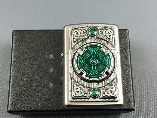 Zippo Encendedor, Cromado, Satin Finish (Celtic Green Cross), 5.8 ...