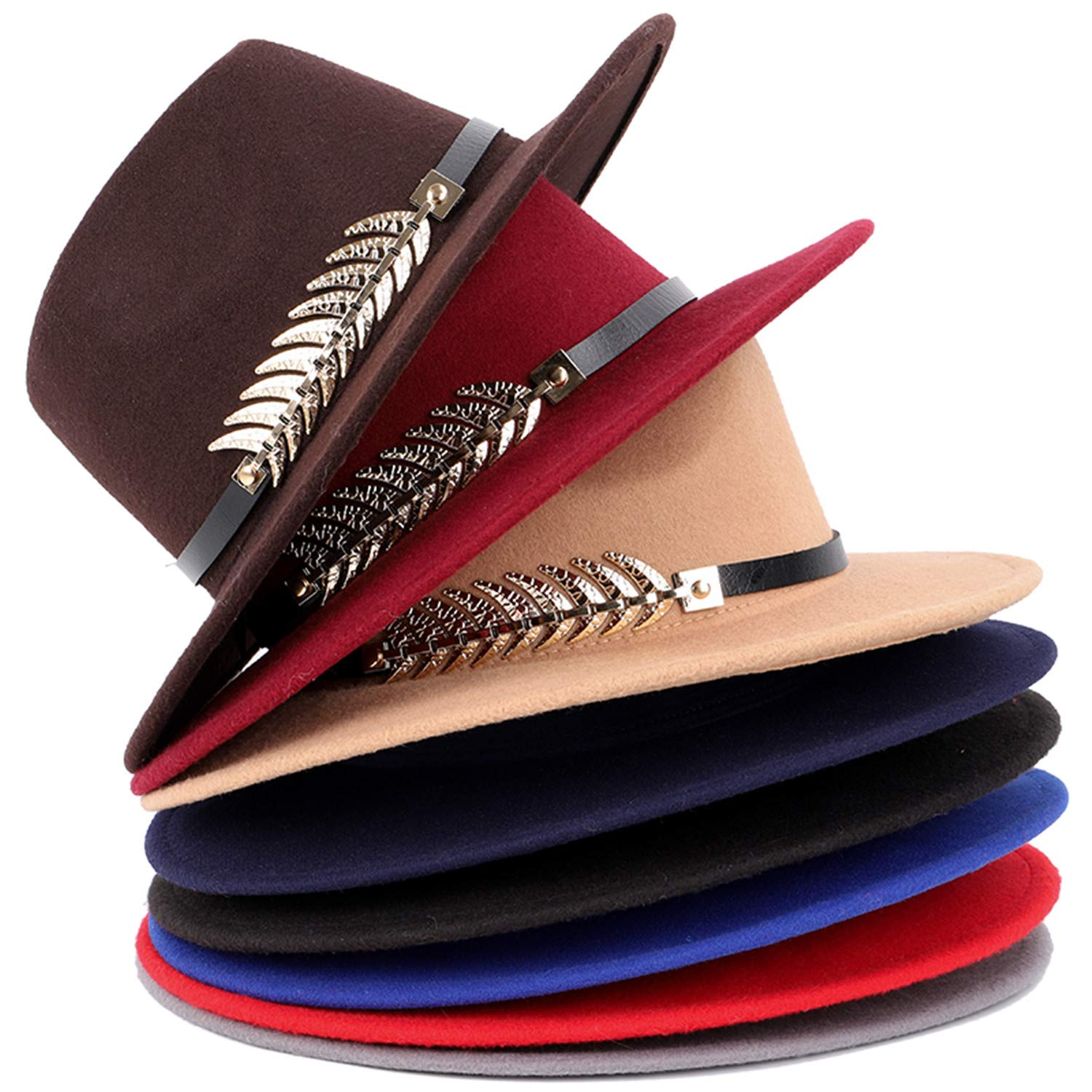 Zesoma Fashion Wool Wide Fedora Hat Winter Womans Hat Felt Hats Cylinder Bowler Hats,Red,OneSize