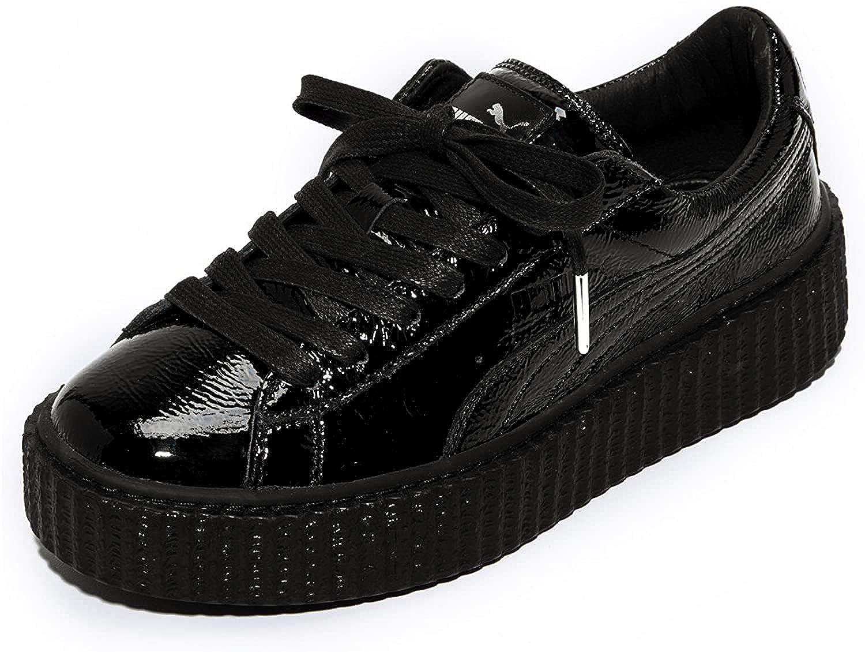 Creeper Wrinkled Patent Black Sneakers