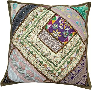 Green Cushion Case Patchwork Designer Home Decor Pillow Cover Home Throw Art India 16'' Inches