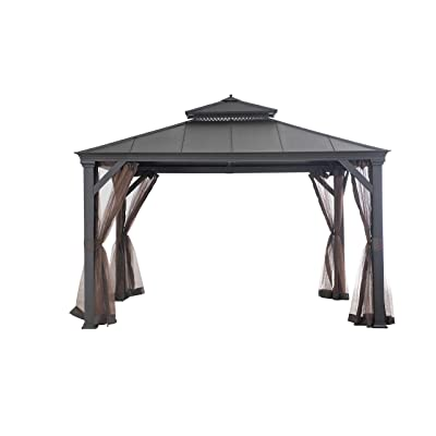 Sunjoy 110109564 Original Replacement Mosquito Netting for Hardtop Gazebo (10X12 Ft) L-GZ1048PCO-A Sold at BJ's, Brown : Garden & Outdoor