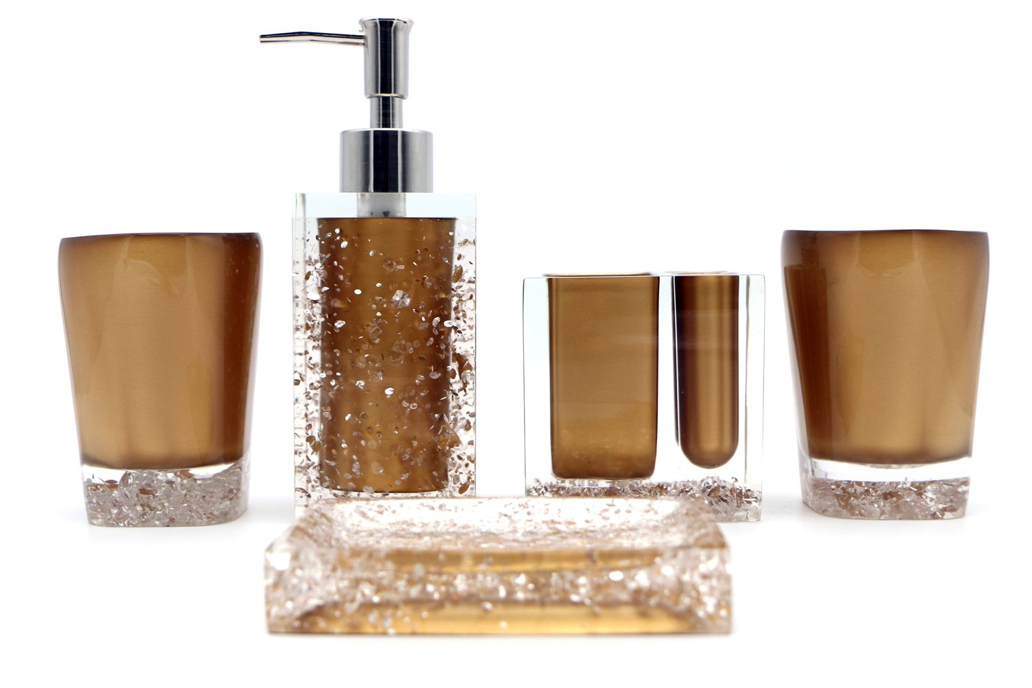 Hot San Resin 5 Pieces Bathroom Accessory Set - Ice Crystal In Gold Design Ensemble,Bathroom Vanities,Home Decor - Handmade items,made of resin material,easy to clean and durable Available in multiple colors to match your bathroom's color Includes 2x tumblers;soap dish;liquid soap dispenser;toothbrush holder - bathroom-accessory-sets, bathroom-accessories, bathroom - 71II5XDaYZL -