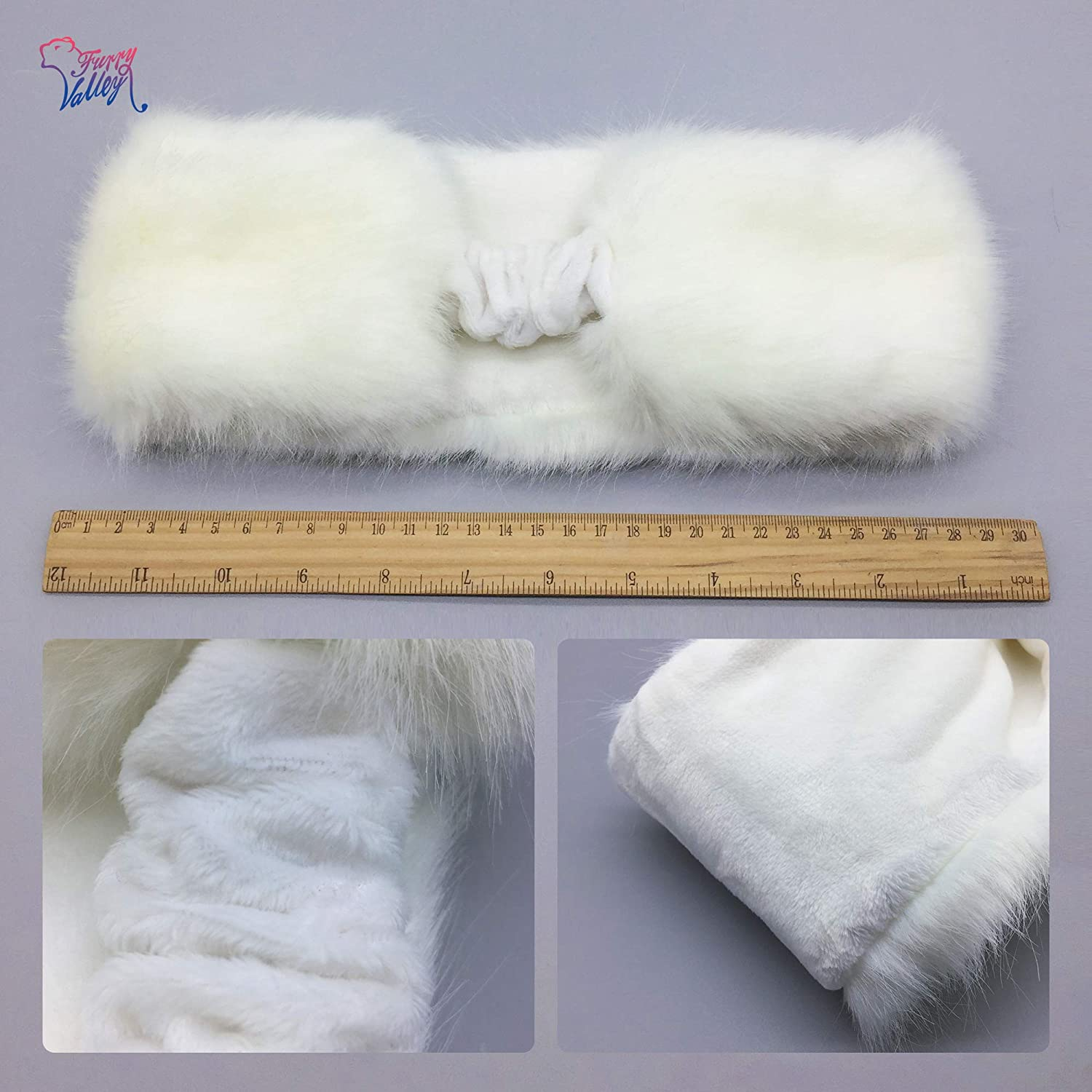 FurryValley Faux Fur Headband with Elastic for Womens Winter Earwarmer Earmuff Hat Coldweather Accessories(White)