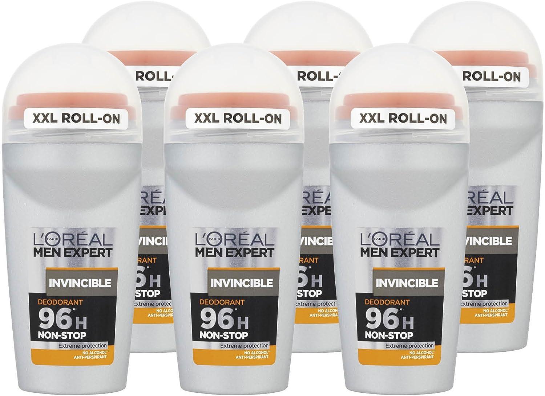 L Oreal Men Expert Invencible 96H Roll On Desodorante 50 ml, pack de 6: Amazon.es: Belleza