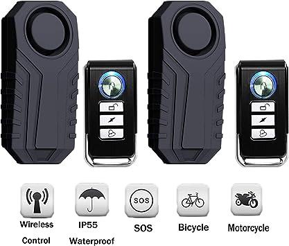 Onvian Wireless Anti-Theft Motorcycle Bike Alarm with Remote 113dB Loud Waterproof Bicycle Security Alarm Vibration Sensor