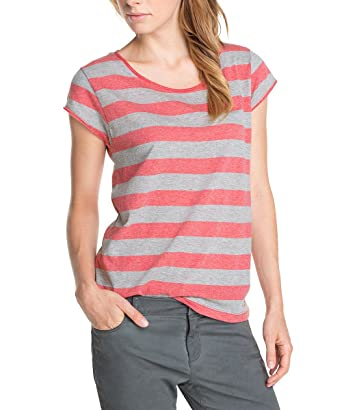 Esprit Sports shirt Col rond Manches courtes Femme - Rouge - Rot (Creamy  Rhubarb Red 8d2eab77505