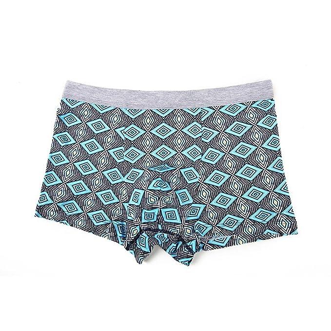 VLIMG Los hombres de fibra de bambú ropa interior normal, patrones geométricos sello personalizado para