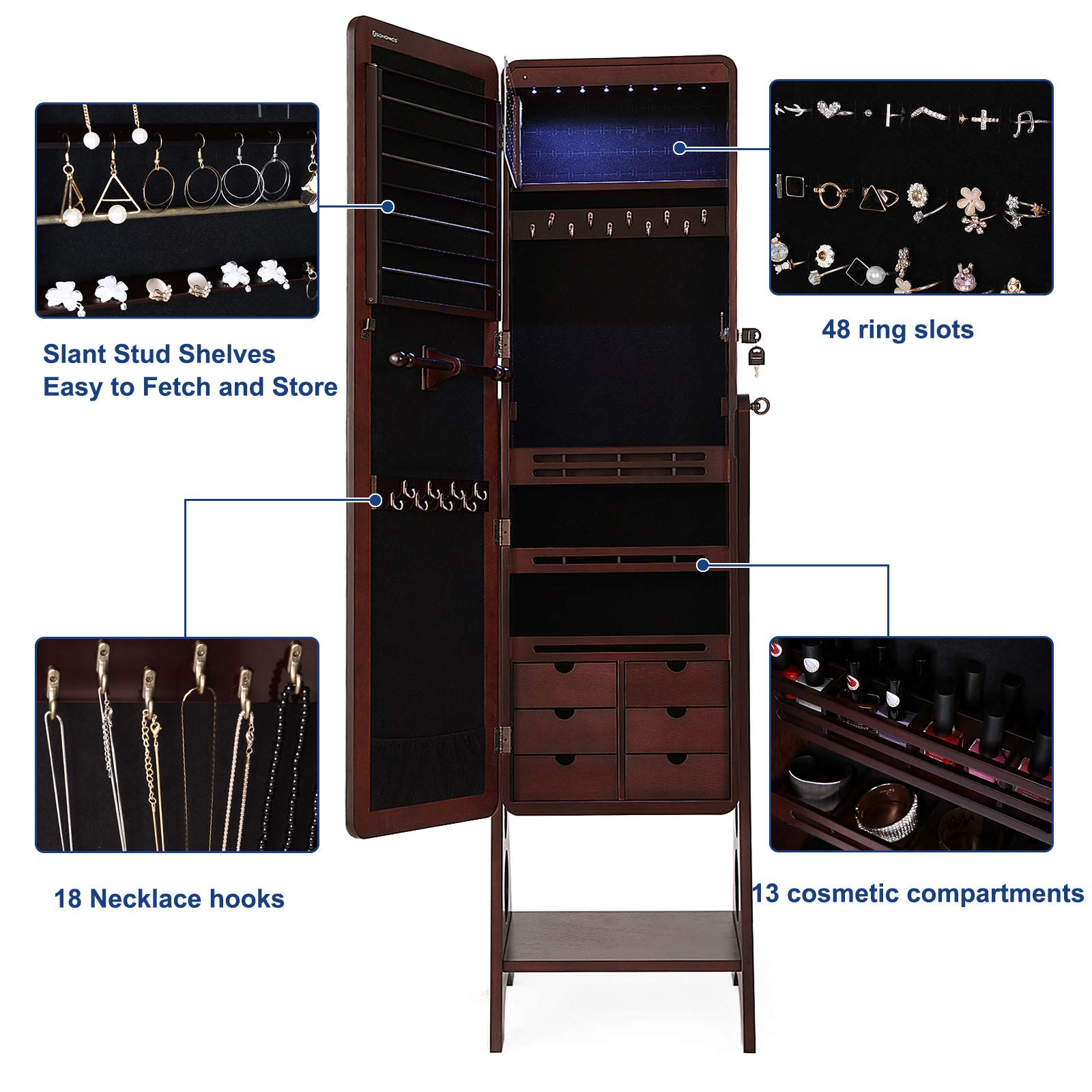 SONGMICS 8 LEDs Jewelry Cabinet Armoire with Beveled Edge Mirror, Gorgeous Jewelry Organizer Large Capacity Brown Patented UJJC89K by SONGMICS (Image #5)