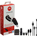 "Motorola Boom 2+ ""HD"" Flip Bluetooth - Water Resistant Durable Wireless Headset W/Car Charger, Y Micro Wire Extra Micro USB 3FT Cable (US Retail Packing"