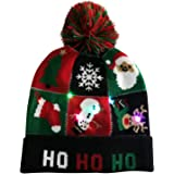 NUWFOR LED Christmas Hat&Scarf Light Up Knit Colorful Xmas Hat Scarves for Unisex Winter Snow Party Beanie Cap Gifts