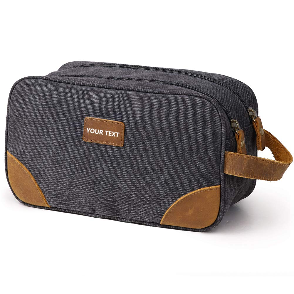 Kemy's Personalized Canvas Toiletry Bag for Men Women Customized Vintage Monogrammed Dopp Kit Mens Bathroom Travel Cosmetic Bag Dob Kits Double Zip Large Unisex Easter Gift Blue Gray