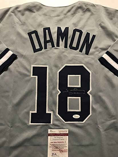 5419253375e Image Unavailable. Image not available for. Color  Signed Johnny Damon  Jersey - Grey COA - JSA Certified - Autographed ...