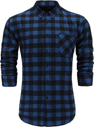 Emiqude - Camisa de manga larga para hombre, 100 % franela de algodón, informal, corte ajustado, cuello abotonado, tela de cuadros azul y negro S: Amazon.es: Ropa y accesorios