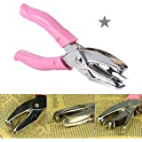 Hand-held 1-Hole Paper Punch Puncher Hand Tool with Pink Grip Single Star Shape Hole