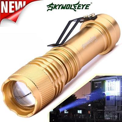 Lampe de poche, 10principales 2000lumens Super Bright 3modes mise au point réglable Zoomable Mini LED Lampes de poche lampe de camping