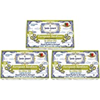 SANTO AMARO European Wild Sardines in Olive Oil (3 Pack, 120g Each) 100% Natural - Wild Caught Canned Sardines – GMO…