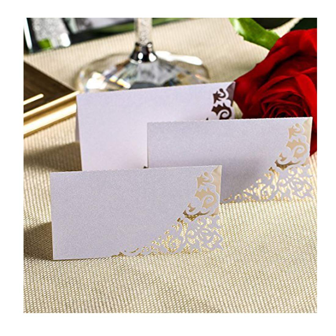 YUFENG Laser Cut Place Cards Table Name Cards For Wedding Birthday Party (60pcs ice white)