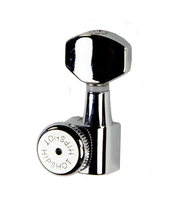 Hipshot Grip-Lock 6 inline Enclosed Left Hand/Reverse Staggered Post Locking Tuners - Chrome HIP-6EL0C-L