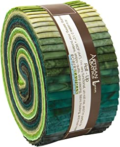 Robert Kaufman Artisan Batiks Prisma Dyes Rainforest Green Jelly Roll Up, 40 2.5x44-inch Cotton Fabric Strips