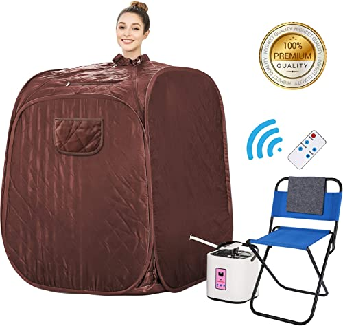 Himimi 2L Foldable Steam Sauna Portable Indoor Home Spa Weight Loss Detox with Chair Remote Brown