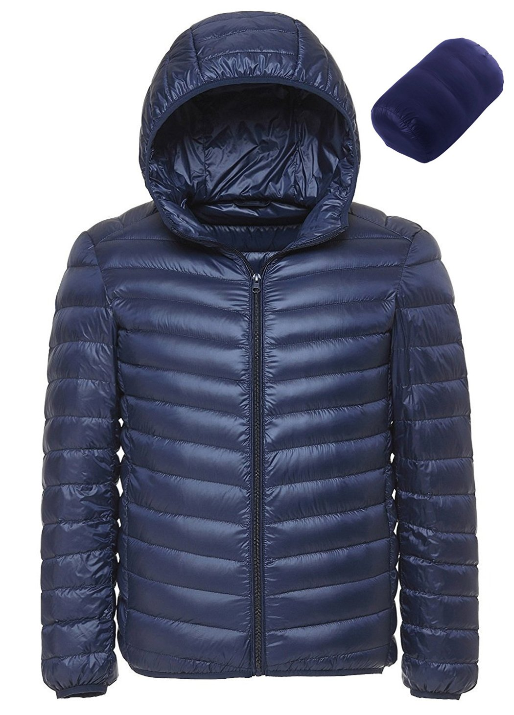 Sawadikaa Men's Winter Hooded Packable Ultra Light Pillow Down Puffer Jacket Coat Outdoor Quilted Lightweight Down Parka Navy Small