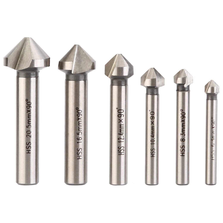 3 Flute 90 Degree HSS Chamfering End Mill Cutter Bit Countersink Drill Bit Pack of 6pcs