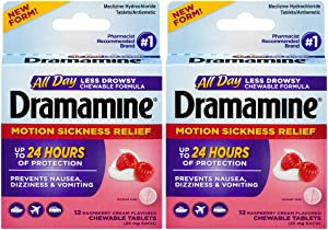 Dramamine All Day Less Drowsy Motion Sickness Relief, Raspberry Cream Flavor, 12 Chewable Tablets, Pack of 2