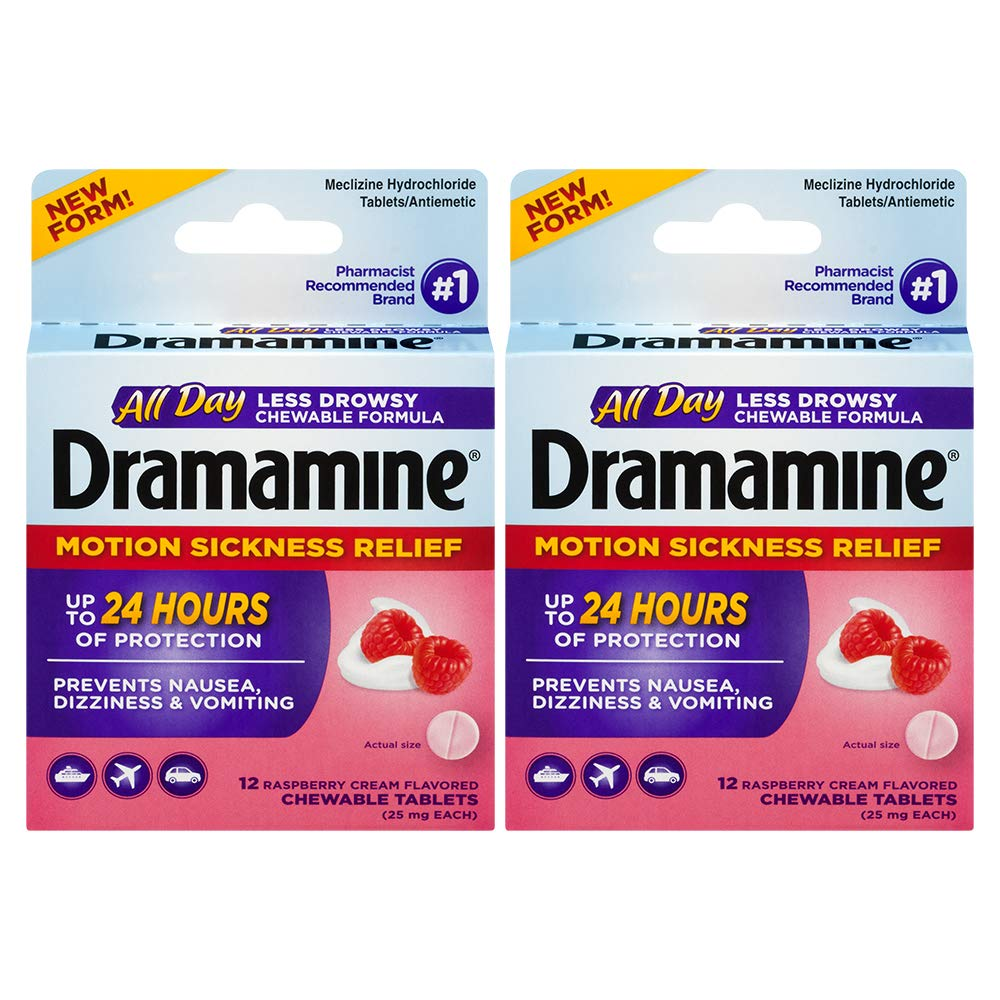 Dramamine All Day Less Drowsy Motion Sickness Relief | 12 Count Chewable Tablets | Pack of 2 by Dramamine