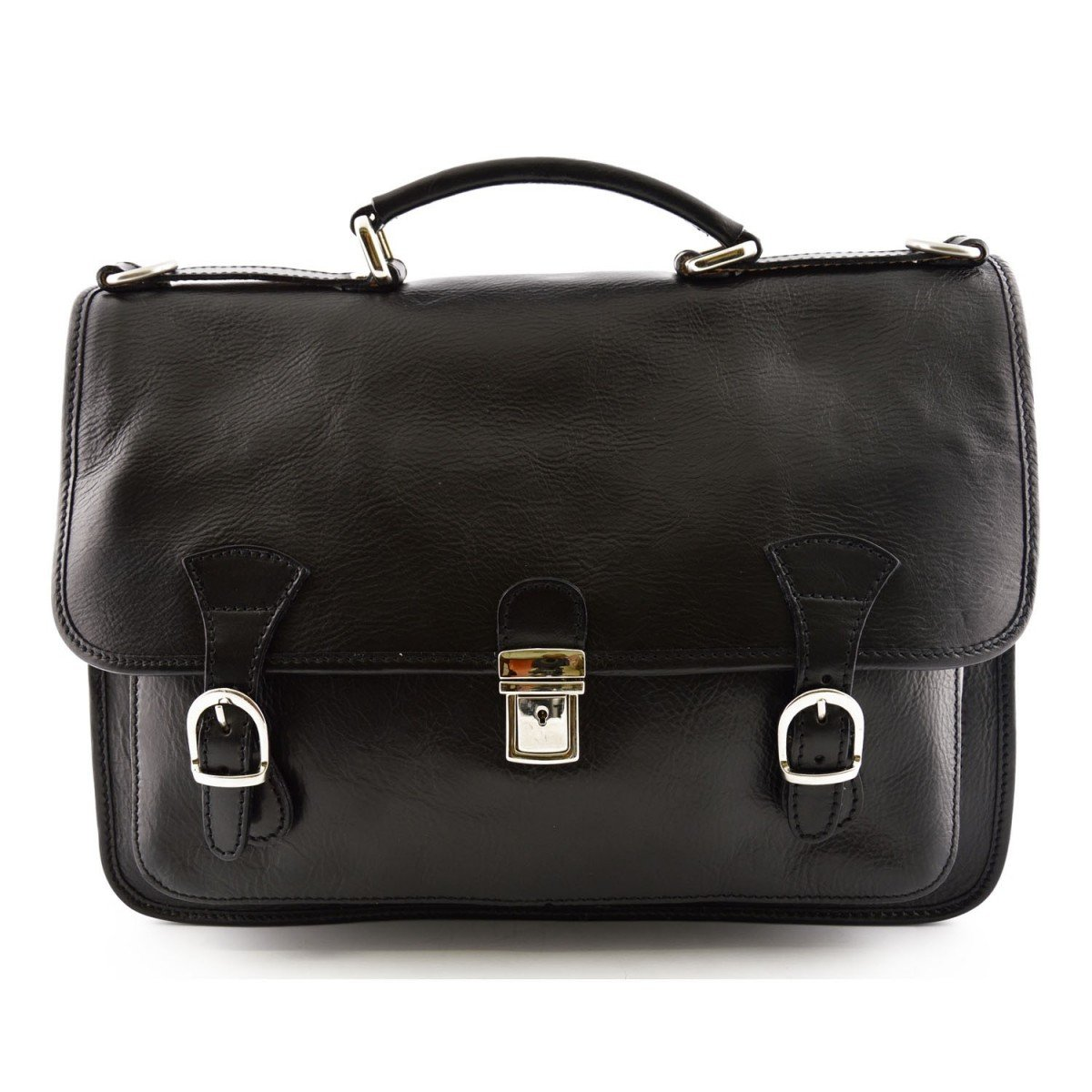 Made In Italy Leather Business Bag Color Black - Business Bag   B016XIYU12