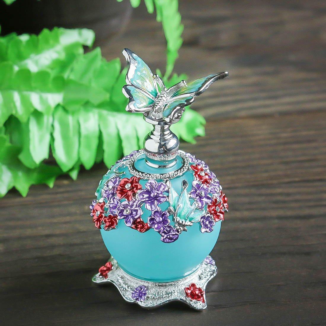 H&D - Botella de perfume de mariposa, cristal retro esmerilado rellenable botella de perfume vacía con cuerpo de botella azul 23 ml: Amazon.es: Belleza