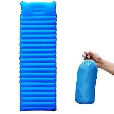 Matelas gonflable à air floqué avec oreiller imperméable - Ultra léger - Pour voyage, camping en nature, randonnée, plage