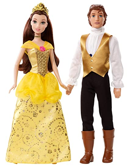 Disney Princess And Prince Belle Adam Doll Set